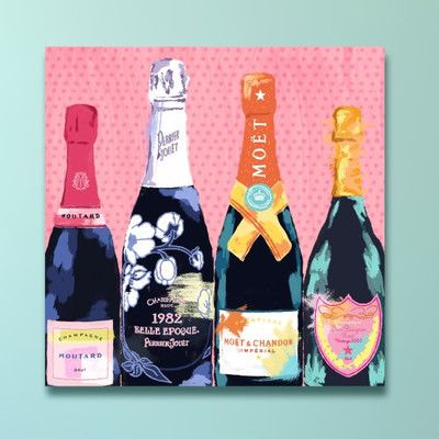 Oliver Gal Oliver Gal Pass the Bottle! Painting Print on Wrapped Canvas & Reviews | Wayfair