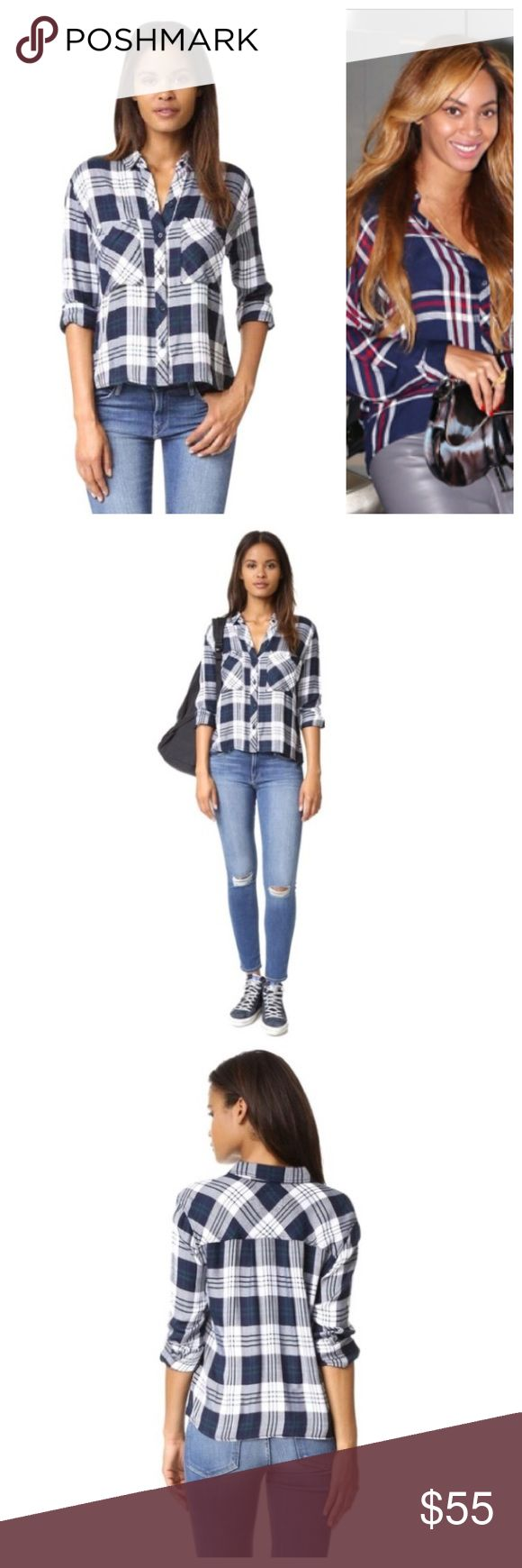 RAILS NWT dylan BEYONCÉ COOL 2402 PRICE IS FIRM    shoulder to shoulder: 18 inches  armpit to armpit: 21 inches  length: 23.5 inches    A classic RAILS button-down shirt in contrast plaid. Patch front pockets. Fold-over collar and button placket. Long sleeves and button cuffs.    Fabric: Herringbone weave.  100% rayon.  Hand wash.  Imported, China.    Measurements  Length: 23.5in / 60cm, from shoulder Rails Tops Button Down Shirts