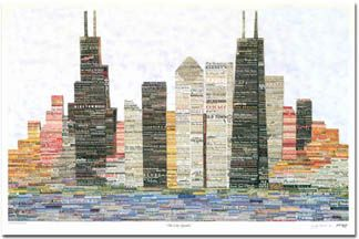 """Chicago Art - Includes places from all over Chicago combined to create """"The Chicago Skyline""""."""
