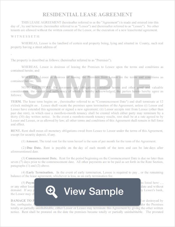 Free Residential Lease Agreement