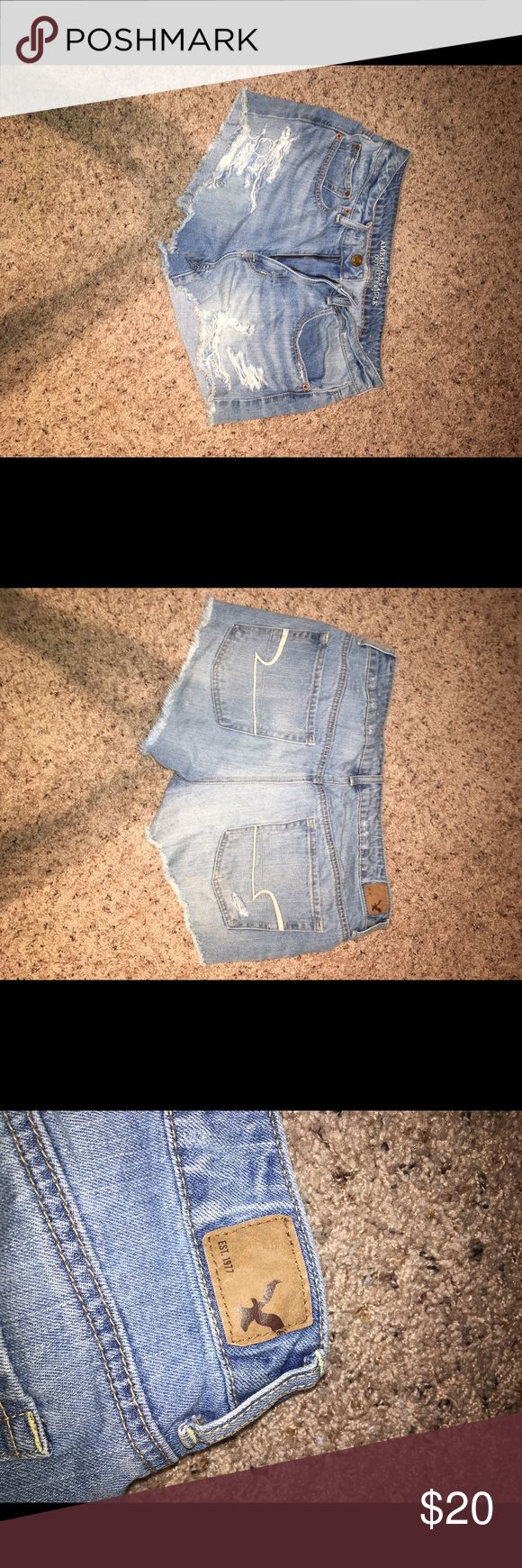 LIGHTLY WORN AMERICAN EAGLE SHORTS SIZE 12 So cute and comfy and are a great touch to summer clothing American Eagle Outfitters Shorts Jean Shorts