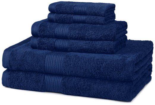 My bathroom is dark blue and white. AmazonBasics Fade-Resistant Cotton 6-Piece Towel Set, Navy Blue