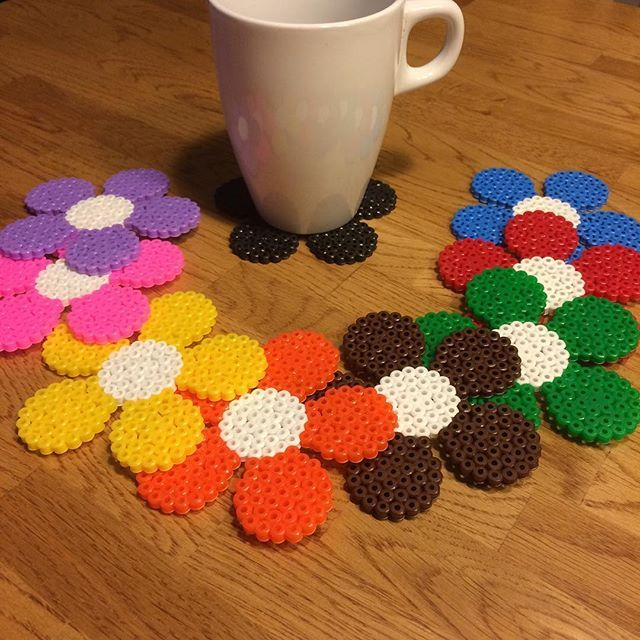 Spring coasters hama beads by pysselpysselpyssel