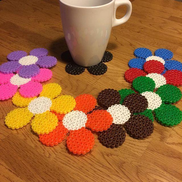 Spring coasters hama beads by pysselpysselpyssel