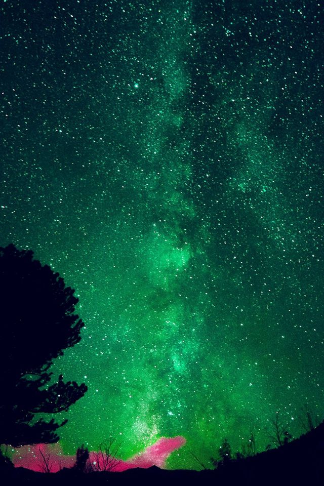 Aurora Night Sky Star Space Nature Green Iphone 4s Wallpaper Green Wallpaper Phone Night Sky Stars Lime Green Wallpaper