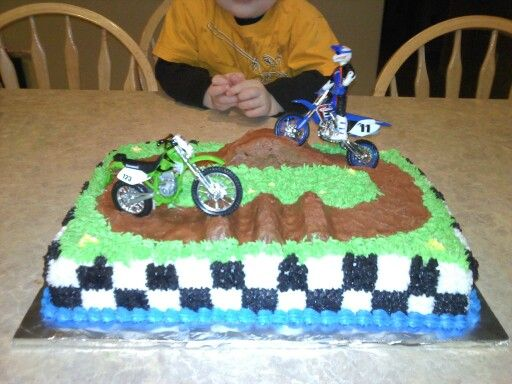 Dirt Bike Cake Fun Boys Racing Flag Rice Crispy Hills