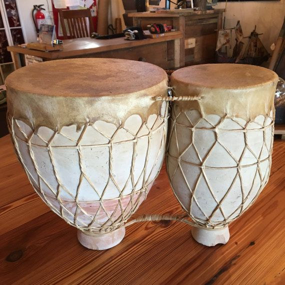 Vintage Moroccan Clay and Hide Bongo Drums by SalvageBank on Etsy