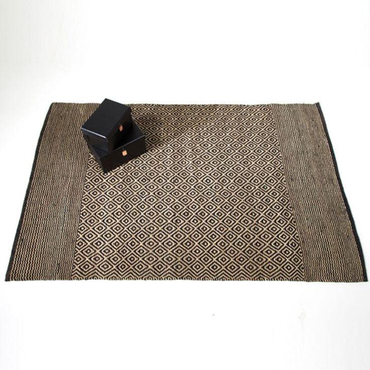 tapis en jute naturelle tiss main motifs losange noir. Black Bedroom Furniture Sets. Home Design Ideas