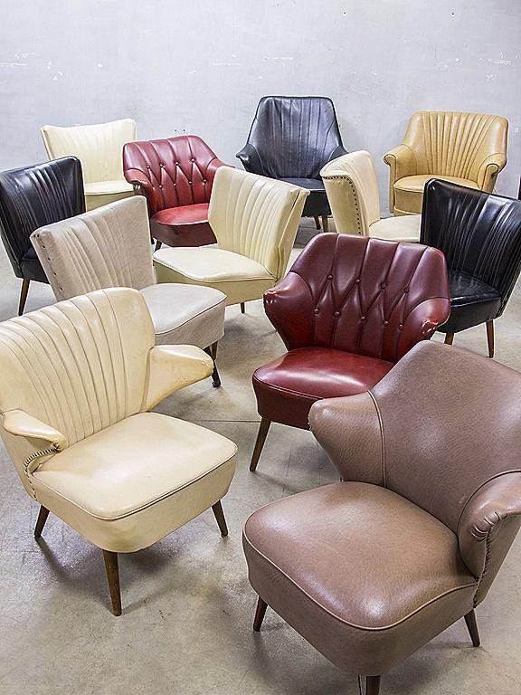 vintage retro cocktail stoel stoelen jaren 50, fifties cocktail chair chairs vintage retro