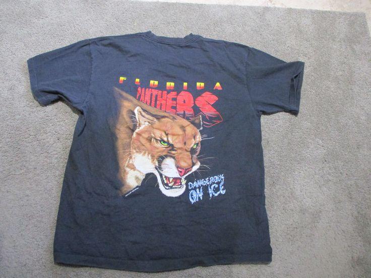 VINTAGE Florida Panthers Hockey Shirt Adult Medium Black NHL 1994 Big Logo 90s S #Salem #GraphicTee
