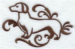 Graceful Dachshund Embroidered Terry Kitchen Towel Bathroom Hand Towel