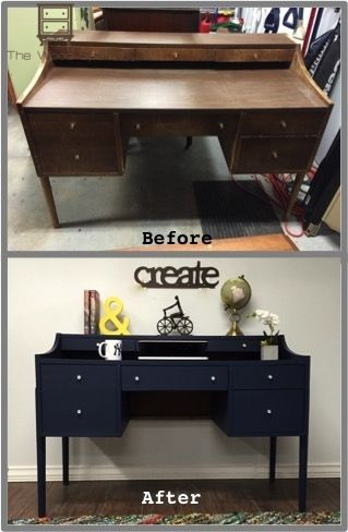This desk was on Craigslist for a steal. Vanessa and her fiancé chose navy blue for it. What a beauty!