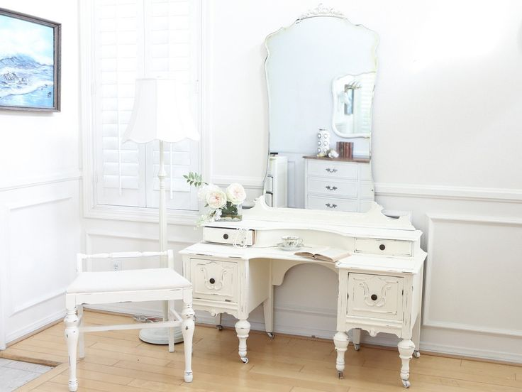 antique over 100 years old vanity mirror desk with linen top stool chair no117