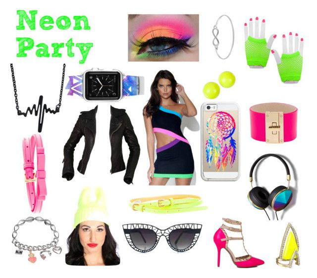 """""""Neon Party Outfit"""" by nicciplier ❤ liked on Polyvore featuring Alexis Bittar, CC SKYE, Casetify, Miu Miu, Balenciaga, Abercrombie & Fitch, Juicy Couture and Jewel Exclusive"""