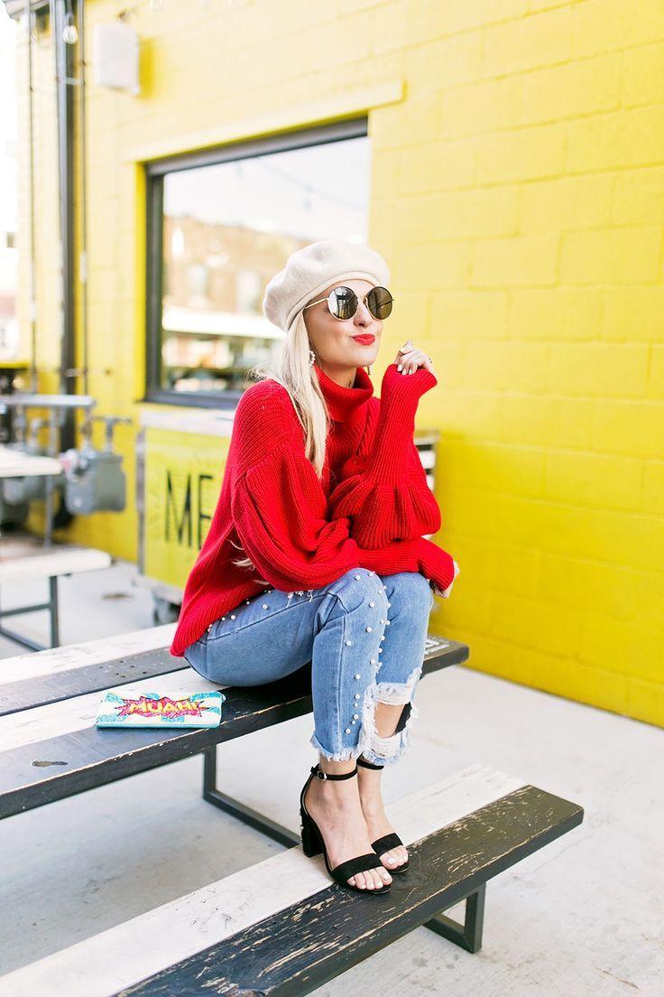 red balloon sleeve sweater.