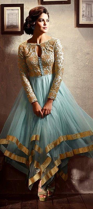 411594:#GetThisLook like #izabelleleite in asymmetric #anarkali. #Bollywood #pastel #bridal #partywear