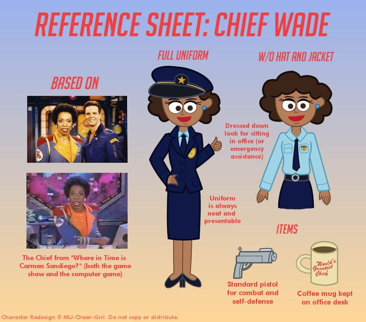 """Redesign of the ACME Chief from the computer game """"Carmen Sandiego's Great Chase Through Time"""". I gave her the name """"Chief Wade"""" in reference to Wade from """"Kim Possible""""."""