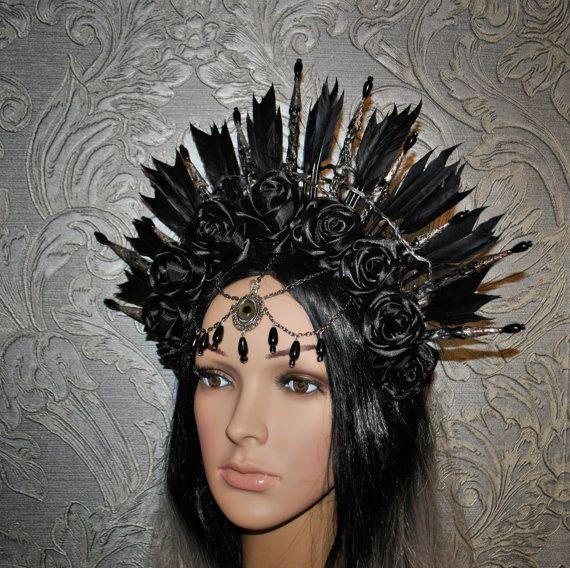 Gotische Kopfband - Stammes Kopfband - Krone mit schwarzen Rosen - Feder…