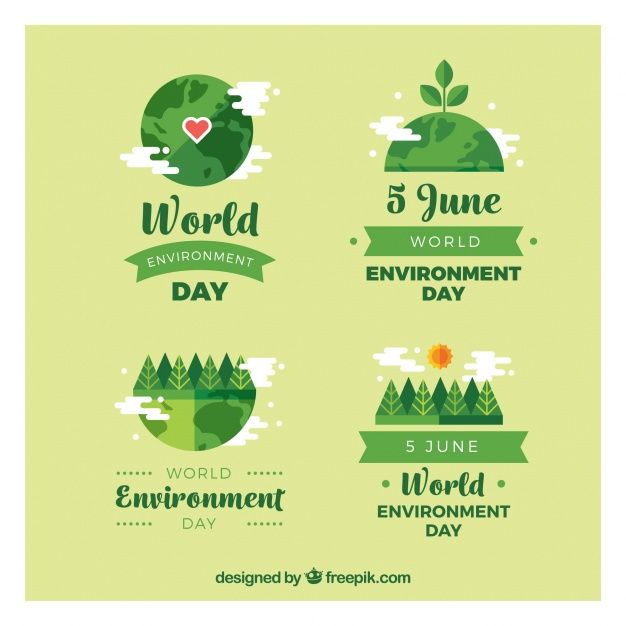 Set of green labels for world environment day Free Vector