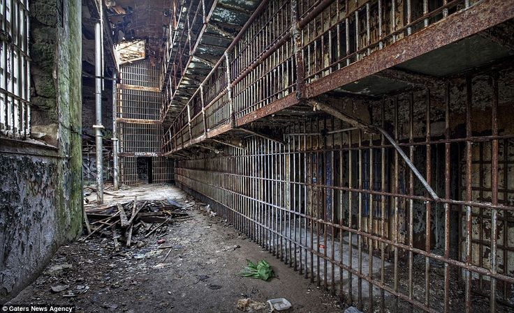 Doing time alone: The rusting cell blocks of Essex County Jail in Newark, New Jersey, which have been unused since the prison closed in 1970 when a new one was built