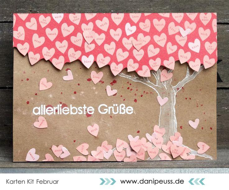Karte mit dem #dpKartenkit Februar AddOn von @venure für www.danipeuss.de   @crate_paper Kiss Kiss, Tim Holtz Distress Marker Picket Fence, Klartext Stempel