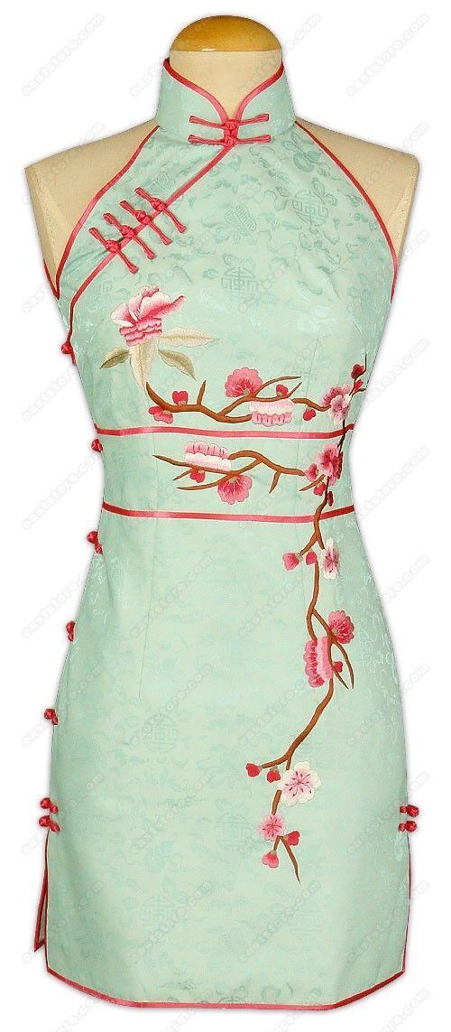 Plum Blossom Embroidered Silk Mini Cheongsam. Soooo pretty!