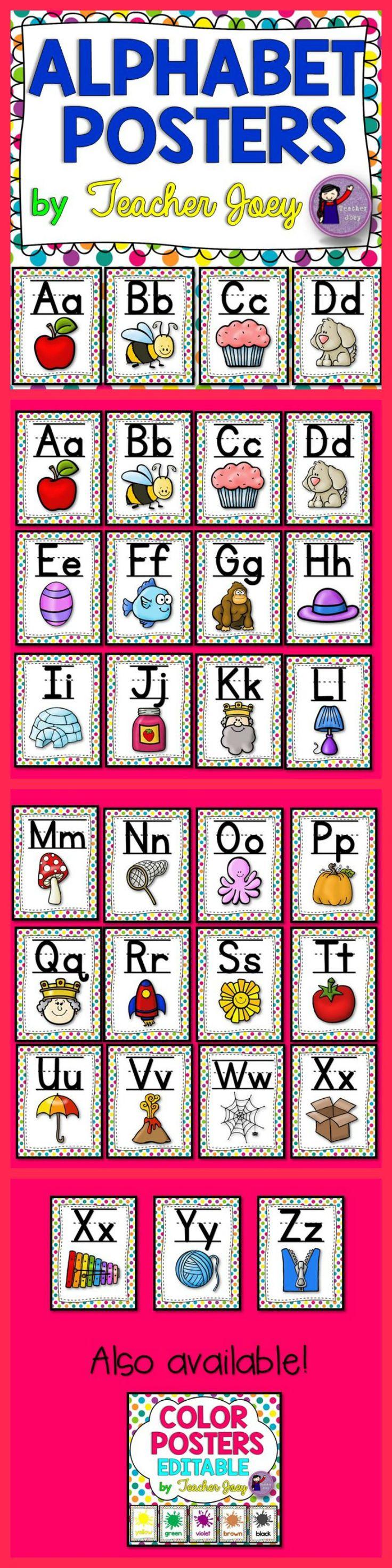Alphabet Posters Rainbow Polka Dots Background #teacherspayteachers #tpt