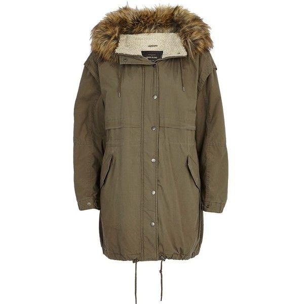 River Island Khaki borg-lined parka jacket (£50) ❤ liked on Polyvore featuring outerwear, jackets, parka, sale, river island jackets, zipper jacket, zip jacket, lined parka jacket and parka jackets