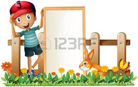 Ilustração de um menino segurando um cartaz emoldurado vazio com um coelho em um fundo branco photo