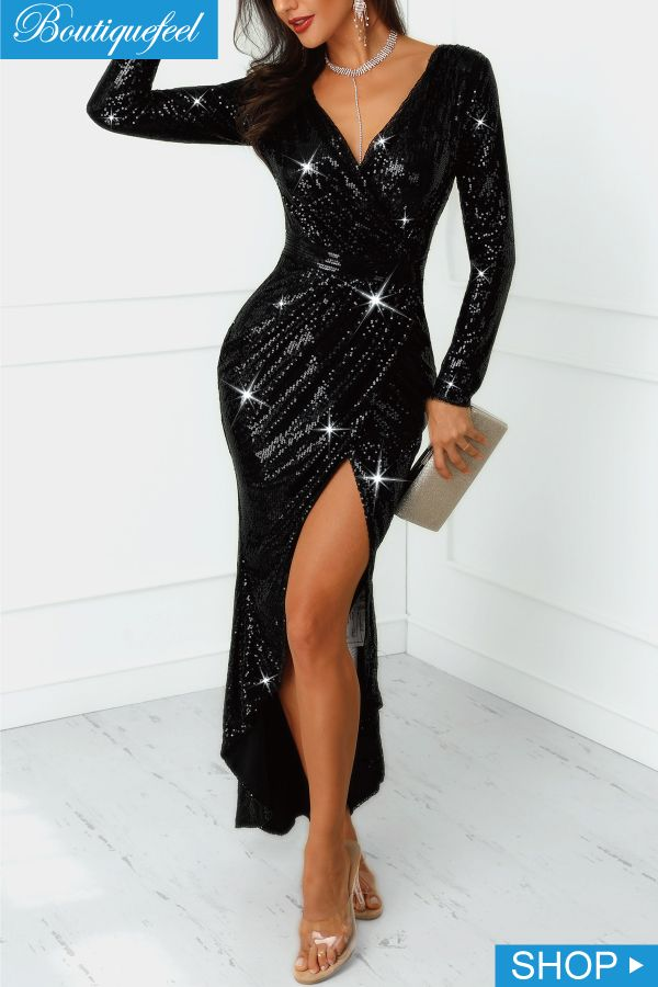3d567c48 2019 的 Wrap Ruched Irregular Sequin Party Dresses | Party Dress ...