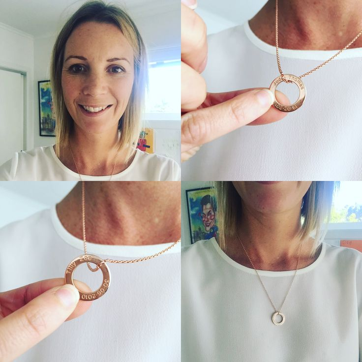 Carly Flynn with her gorgeous Mini Rose Gold LoveLoop. One child's name and birthdate engraved on each side <3 50cm petite rose gold chain