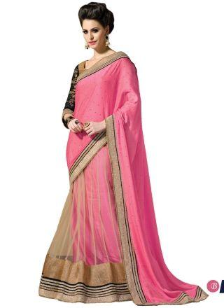 Pink And Cream Net With Georgette Lehenga Saree #sarees #bollywoodSarees #lehengasarees  http://www.angelnx.com/Sarees/Lehenga-Sarees