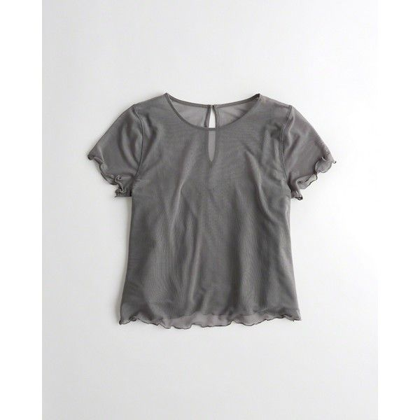 Hollister Lined Mesh Top (875 RUB) via Polyvore featuring tops, grey, cami top, grey camisole, camisole tops, mesh top и gray camisole