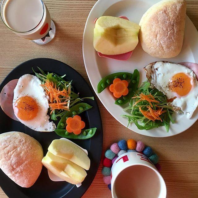 2017/01/31 07:26:57 ryoko__kod . 朝ごはん 2017.01.31.tue. おはようございます。 今日で1月終わりですね。 早い。 . 今日はセルフサンド形式にしてみました。 挟むもよし、そのまま食べるもよし。 . ◽︎ ふわふわパン ◽︎ ハムエッグ ◽︎ サラダ ◽︎ りんご . #朝ごはん#朝ごパン#朝ごぱん#朝食#breakfast#ふたりごはん#二人ごはん#おうちごはん#二人暮らし#ふたり暮らし#朝食プレート#ワンプレート#ワンプレート朝食#朝時間#クッキングラム#デリスタグラマー#BALMUDA#バルミューダ#subikiawa#イイホシユミコ#トリプレート#作山窯#sakuzan#コムシノワ