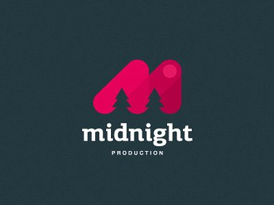 Midnight Production Logo - Unique logo. The negative space creating the trees, which are in turn incorporated into the M is very unique. The trees and moon on the far right create the picture of midnight. The color choice is somewhat odd, however. A deep blue could have better portrayed a better midnight, but overall the logo works pretty well.