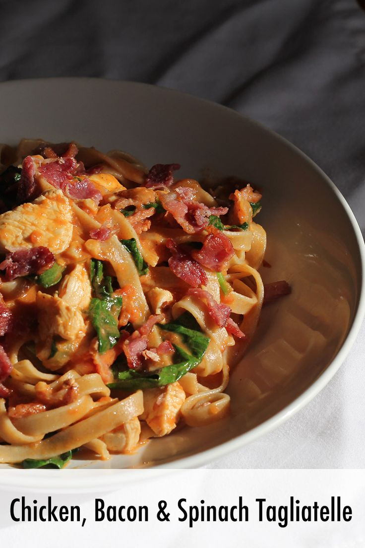 Chicken Bacon and Spinach Tagliatelle - Pasta Recipe - Meal for One - Simple Suppers