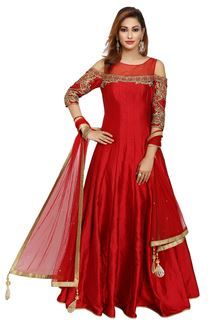 Show details for Empress style red designer anarkali dress