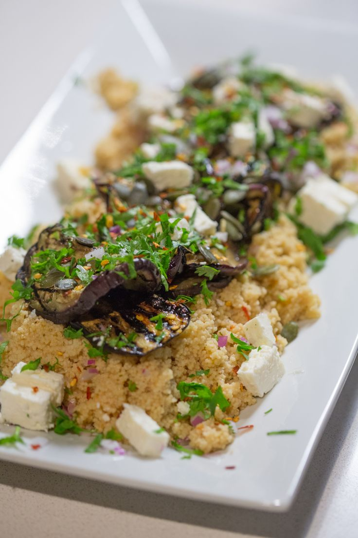 J'Something's grilled brinjal, couscous & feta salad #Knorr