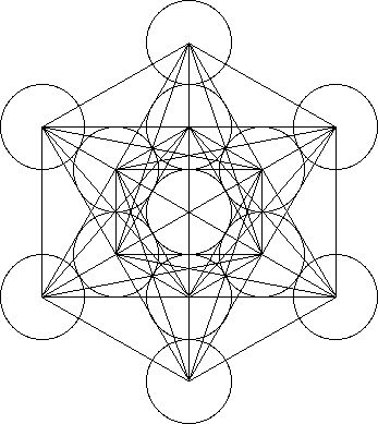 Metatron's Cube contains 2-dimensional images of the Platonic Solids (as shown above) and many other primal forms.