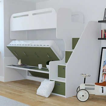 Jessie Twin Over Full Landscape Bunk Bed With Stair Storage Desk