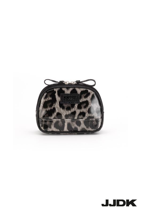 JJDK Small Cosmetic bag, grey leopard pattern, glossy and shiny patent