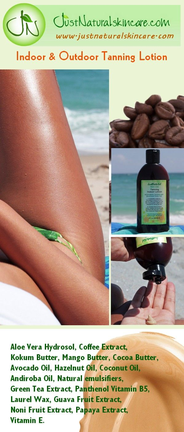 Let this lotion prepare and moisturize your skin for intense tanning and help to hold your tan for weeks longer with lasting dark color! This product is formulated for indoor and outdoor use and is tanning bed safe. It is not a self-tanner or bronzer. Apply generously 10-15 minutes before tanning. Reapply as needed. As a daily moisturizer to help extend your tan - Shop http://www.justnaturalskincare.com/skin-tanning-skin-helpers/tanning-indoor-lotion.html