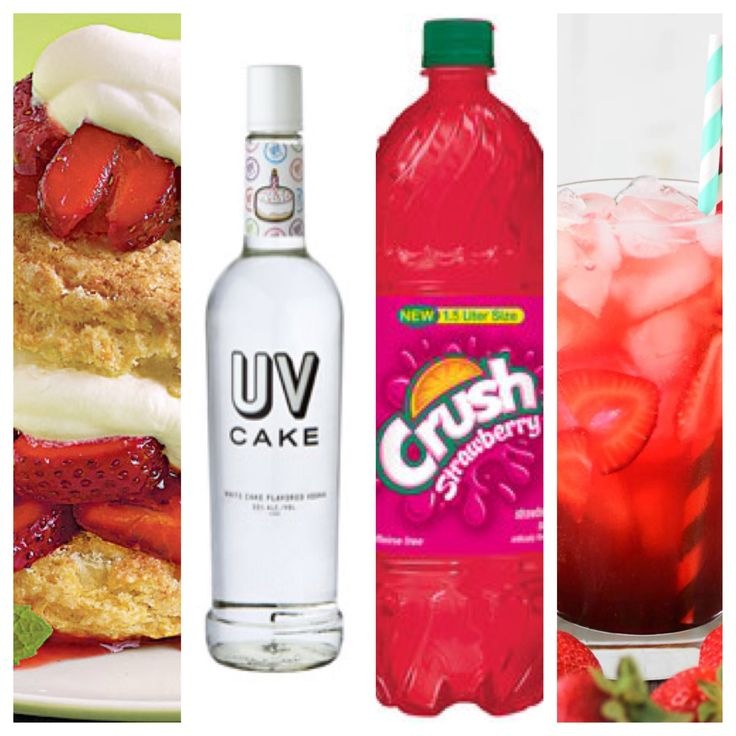 Strawberry Shortcake Drink! Easy and delish! Strawberry Soda + UV Cake Vodka.