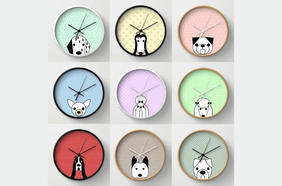 Wall clock for those who love their dog. A choice of wall clocks with different graphics that represent different dog breeds. Clock for