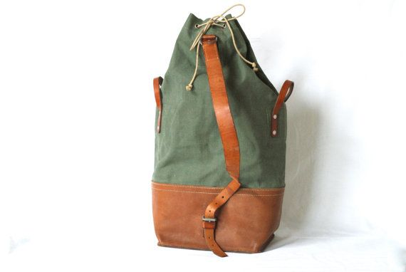 Swiss Army 1967 NEW OLD STOCK, Extra Large Swiss Army Backpack, Swiss Military Duffle Bag, Canvas and Leather, Large Fishing Hiking Rucksack