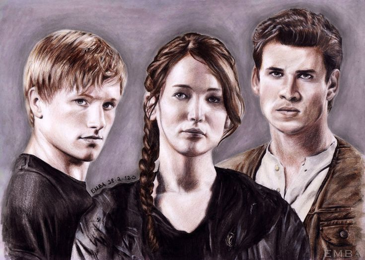 The Hunger Games (Main Cast) by dbrytpurl09 on deviantART ~ Josh Hutcherson ~ Jennifer Lawrence ~ Liam Hemsworth ~ traditional colored pencil drawing