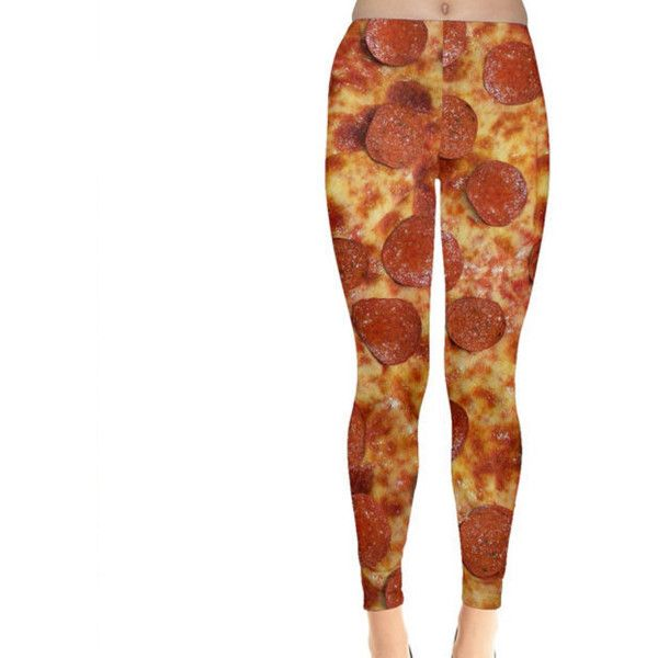 Pepperoni Pizza Leggings ($35) ❤ liked on Polyvore featuring pants, leggings, light yellow, women's clothing, white leggings, white pants, legging pants, white legging pants and white trousers