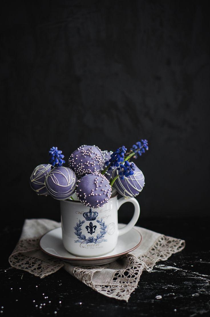 Lavender chocolate  cake pops in ceramic mug