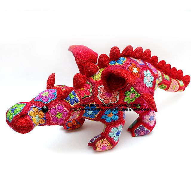 Ravelry: Smaug the African Flower Dragon Crochet Pattern pattern by Heidi Bears