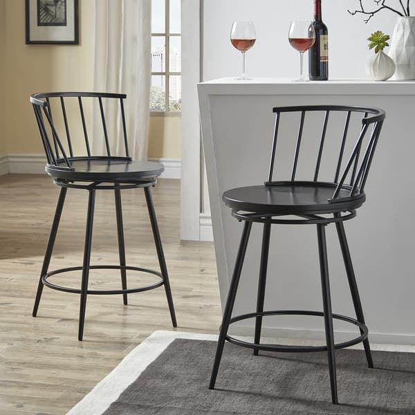 Olix Windsor Swivel Counter Stools With Low Back Set Of 2 By Inspire Q Modern White Swivel Counter Stools Counter Stools Counter Stools With Backs